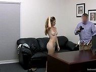 Cute blonde-haired chick came on the casting to prove her sexual talents