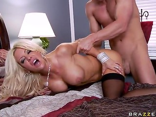 Wonderful experienced blonde in stockings gives her tasty vagina for humiliating by brutal fucker