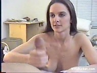 Awesome vintage porno starring cute brunette lass with superb tits and experienced lover