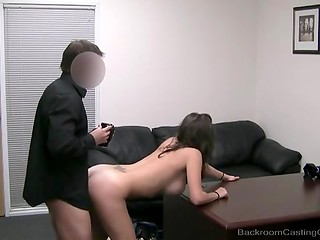 Chick was ardently looking at the camera while porn agent was drilling her from behind