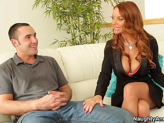 Red-haired slut with mammoth boobies surprises naive guy with a cock-sucking act