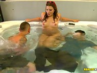 Whorish babes are ready to fulfill every lecherous guy's wish in the bathtub