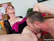 Red-haired secretary with small tits relaxes her bored brain fucking horny boss