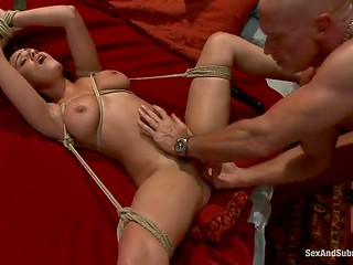 Naked bitch was for a full due tied up and sexually punished by lewd people