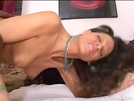 Chocolate-skinned dick penetrated MILF's opening feeling the warmth of the vaginal juice  4