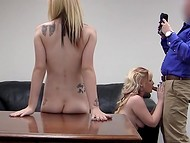 Two blonde cuties came to the casting to get a job but the only thing they obtained is employer's dick