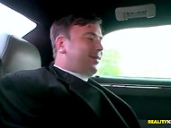 Poor fiance silently watches how MILF Hunter pleases his own bride in the limousine   11
