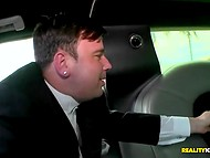 Poor fiance silently watches how MILF Hunter pleases his own bride in the limousine   4