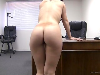 Adroit producer tricked fascinating beauty to undress and play with pussy in the casting