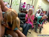 Dancing stripper receives exceptional blowjobs by pretty chicks at the cool hen-party  4