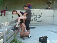 Hot threesome video with two brunettes and pal who enjoy fucking in the public place