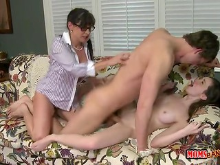 Busty MILF teaches her young step-daughter how to fuck boyfriend more skillfully