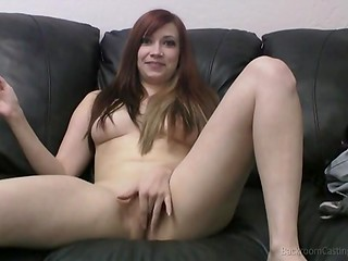 Gorgeous redhead was nervous until cunning producer asked her to give him a blowjob