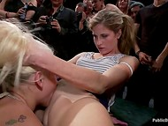 Poor blonde gal was tied up and used as a public cum dumpster in the BDSM video   11