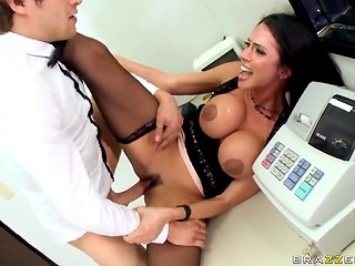 What can be better than a sexy break with busty brunette during the work in the office