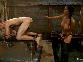 Strict girl organized crazy BDSM game with her unlucky boyfriend using different sex toys