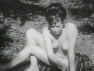 Exquisite dames with hairy pussies are walking naked near the lake in the Swedish vintage video