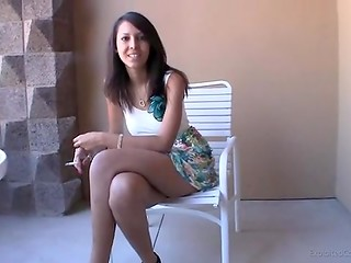 Inexperienced student-girl needs money, that's why she is ready to suck strangers dick in front of the camera