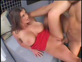 Busty brunette gets laid by her strict boss