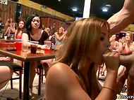 Crazy hen-party with army of hungry ladies and experienced muscled strippers