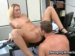 Obedient blonde office worker spreads her legs in front of her boss to get the extra salary