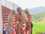 Gorgeous blondes' trio pleased each other's dripping pussy with love and care