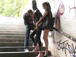 Sexy amateur babe in dirty latex costume walks around her city for the pleasure of accidental viewers