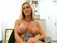Blonde MILF in red panties was aroused by decorated man's proposal about the passionate banging