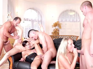 The sofa was fully occupied by six lecherous people satisfying their sexual hunger