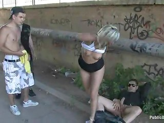 Petite teen with shaved pubis was publicly fucked and disgraced by the cunning buddy