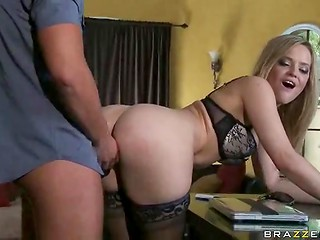 Noble white-haired lady serves handsome lover as an obedient tool created for fucking