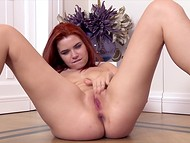 Alluring bronze-haired babe with great boobs plays with the shaved wet front hole using fingers  8
