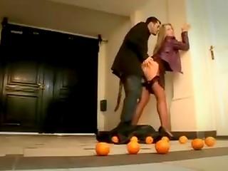 Horny Italian lady fucks in stairwell