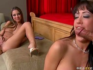 Two hot women were doing their lesbian stuff until young boy came to make join them