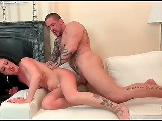 Muscled and tattooed fucker humiliates cute busty brunette and cums in her mouth