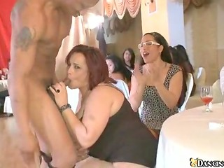 Handsome stripper with delicious cock is ready to shove it in every mouth at the hen-party