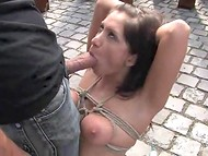 Builders found interesting that the strange guy is fucking poor tied up brunette lady at their workplace