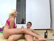 Glamorous blonde in pink lingerie brings himself and partner prior to sexual exhaustion