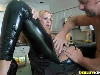Horny dude teared the delightful dame's latex costume for amazing fucking action