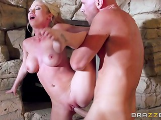 Blonde-haired Madison Scott is cheating on her boyfriend with bald romantic