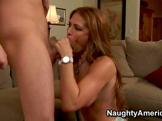 MILF performs nice blowjob to the clever youngster losing the chess game
