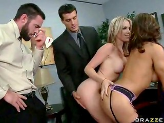 Excited ladies in astounding lingerie presented noble partners greatly done blowjobs