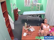 Lustful doctor tricked brunette nurse to have quick sex action during coffee break  6