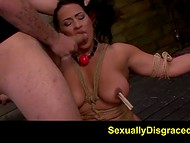 Poor busty woman was almost mentally broken by the horny sadist that tied up her in his BDSM dungeon