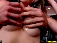 Chesty secretary in stockings agreed to give black-haired boss a blowjob to raise the salary 10