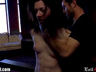 Brunette lass had to heroically endure all the sexual disgrace by the curvy-haired fetishist 10