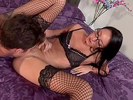 Tiny black-haired chick with small tits rides nerd's long dick with a real pleasure 4