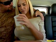 Experienced blonde MILF with huge melons got stimulated on the way to her lover's apartment
