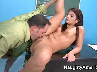 Naughty student sucks her teacher's cock and gets her pussy eaten