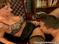 Wise woman in stockings was pleased with her dose of the oral sex action presented by a young guy  10